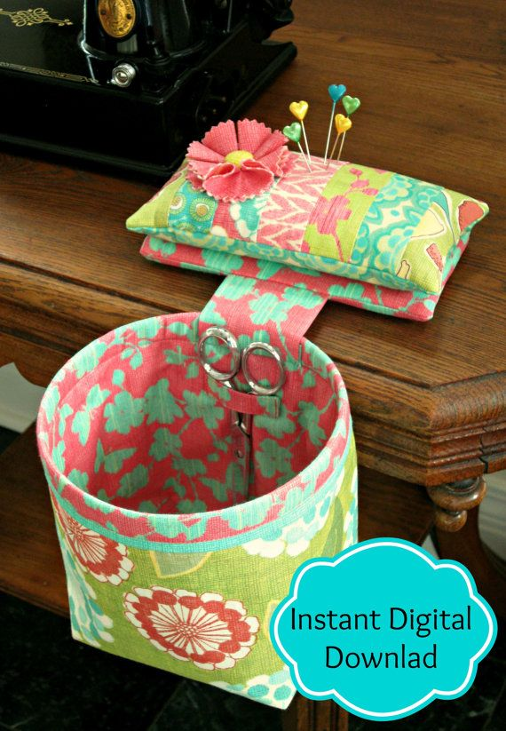 Its finally here! This is the PDF pattern to make your very own Sew In Style Thread Catcher with Detachable Pincushion, now available to you by INSTANT DIGITAL DOWNLOAD.  This little beauty sits perfectly poised to the right or left of the work surface or on the arm of your favorite chair, ready to receive threads, cuttings and clippings. It features a detachable pincushion for those times when you need pins, but not the receptacle bag. The weighted base of the pincushion is a fabric…