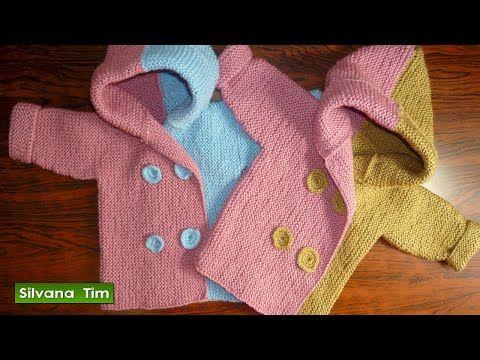Abrigo con capucha para bebé de 0 a 2 años / Video Tutorial Dos Agujas | Crochet y Dos agujas - Patrones de tejido