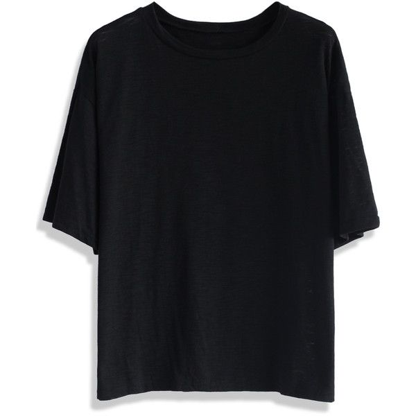 Chicwish Oversized Black Cotton T-shirt ($34) ❤ liked on Polyvore featuring tops, t-shirts, shirts, t shirt, black, cotton t shirt, cotton shirts, crewneck tee, crew neck tee and crewneck t-shirt