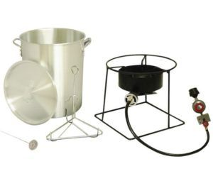 "Turkey Fryer, 29 Quart Metal Fusion - The 12"" portable propane outdoor cooker has a high pressure 38,000 BTU cast burner and the package includes a large 29 quart aluminum turkey pot with lid, turkey rack and lifting hook."