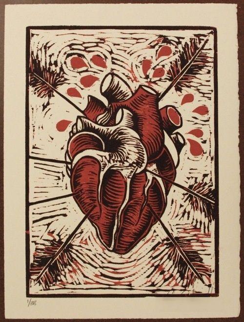 Colors, El Heart, Etching, Color Reduction, Anatomical Heart, Woodcut Prints
