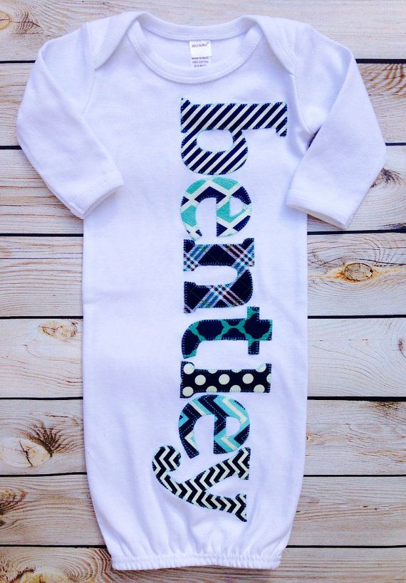 "boys ""the Bentley"" custom name monogram applique gown, hospital outfit, coming home outfit, or perfect for newborn pics."