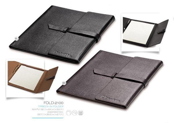 Tribeca A4 Folder FOLD-2100 TRIBECA A4 FOLDER litchi PU 32 (l) x 24(w) x 2.2(h) presentation box: 33.7(l) x 26.5(w) x 2.7(h) pocket pen loop writing pad included