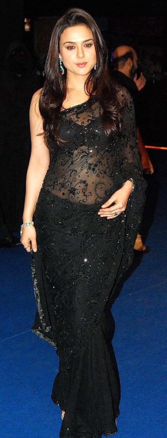 Preity Zinta black saree
