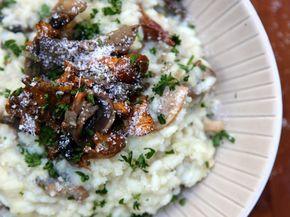 pleurote, champignon de Paris, girolle, riz, vin blanc sec, beurre, parmesan râpé, bouillon de volaille, crème, mascarpone, échalote...