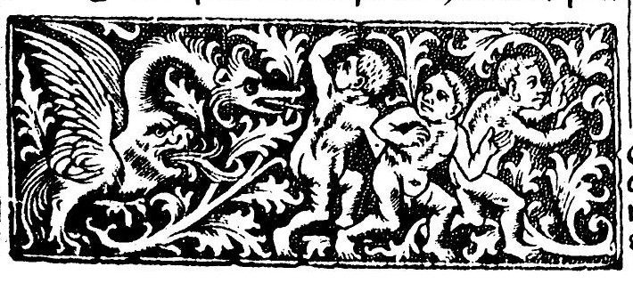 3 putti flee from 'gastrocephalic' dragon -- maniere criblee metalcut border panel found in numerous Parisian Books of Hours intended for the English market [i.e. Sarum Use] printed c.1500