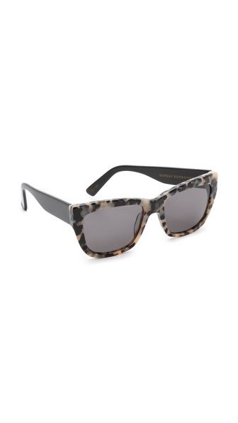 Sunday Somewhere Chely Metal Sunglasses - Cookies And Cream: Matte metal temples add cool contrast to these thick plastic sunglasses.