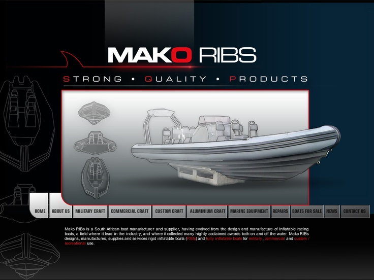 Web design for Mako Ribs - Inflatable boats and RIBs  www.makoribs.com