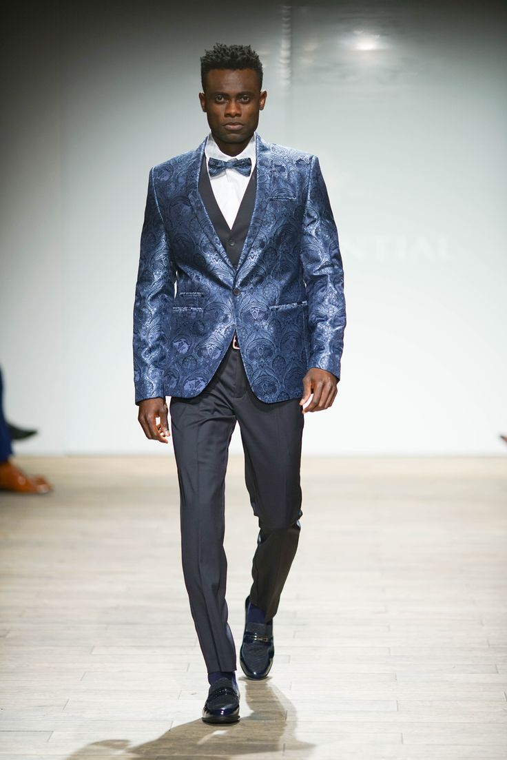 Jacquard Weave blazer with pleated cotton collar dress shirt and matched waistcoat and pants complemented with a pocket square and Jacquard Weave printed bow tie. #SAFW #SAFWmen #SAFAW17 #PresidentialSAFW #AfricanHauteCouture #HeritageMonth #MadInSA