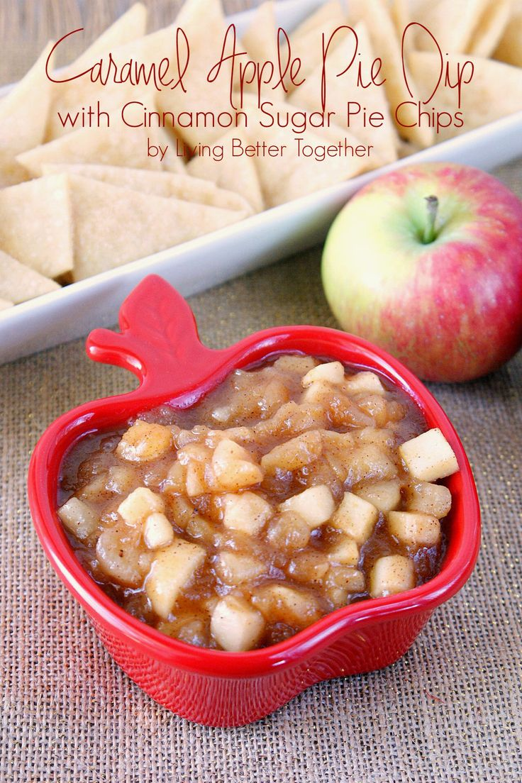 Caramel Apple Pie Dip with Cinnamon Sugar Pie Chips ~ ~  |I have that bowl- Im going to make this!! ✿ڿڰۣ ♥ NYrockphotogirl ♥༻2014 ♥