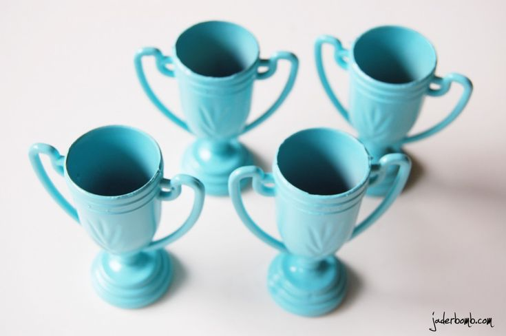Dollar Store Trophy Cups (spray painted)-- cute for party game winners!