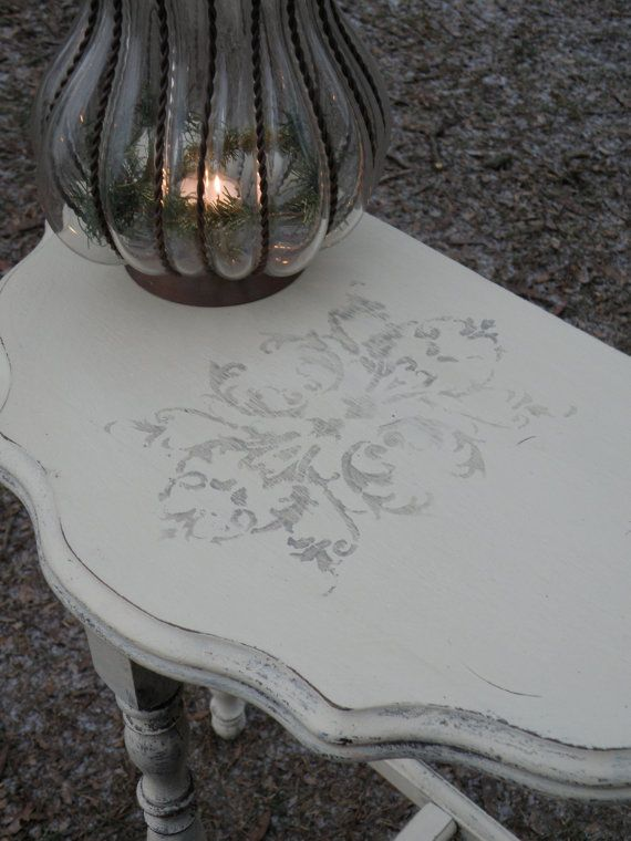 Items Similar To SOLD   Vintage Half Moon Table Painted Annie Sloan Chalk  Paint Shabby Chic Victorian On Etsy