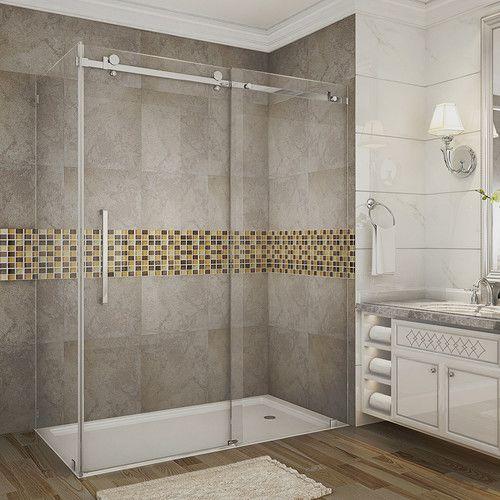 """Moselle 60"""" x 75"""" Single Sliding Frameless Shower Door"""