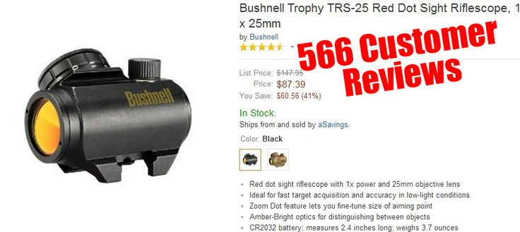 AR 15 Scopes - Bushnell Trophy TRS-25 Red Dot Sight Riflescope, 1 x 25mm