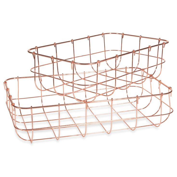 2 cestas metálicas color cobre L25 y L29 cm COPPER