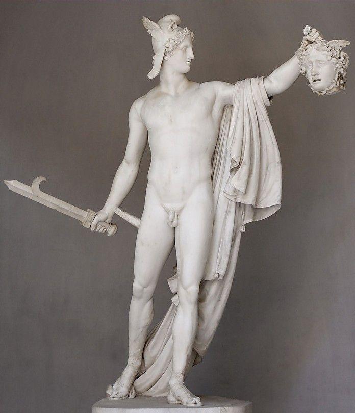 Antonio Canaova, Triomferende Perseus, marmer, hoogte 220 cm, Vaticaans Museum - Meer over dit beeld: http://www.artsalonholland.nl/meesterwerken/antonio-canova-triomferende-perseus