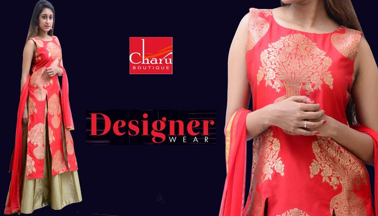 ​Buy #ethnic #printed #silk #kurta #skirt #dupatta set from #CharuBoutique #stylish #ethnicwear collection for #womens to become Show-stopper of the Event