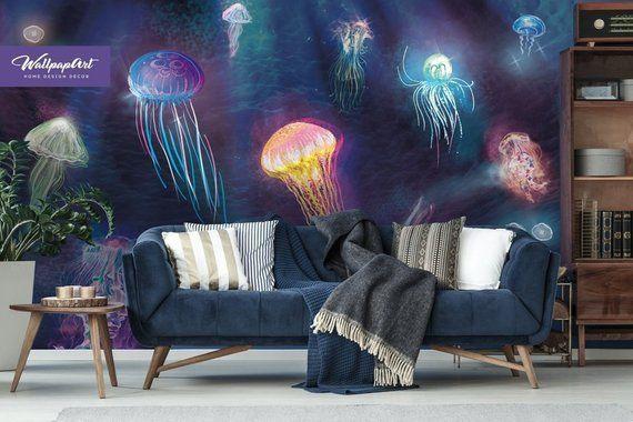 Jellyfish Removable Wallpaper Jellyfish Peel And Stick Etsy Removable Wallpaper Adhesive Wall Art Wallpaper