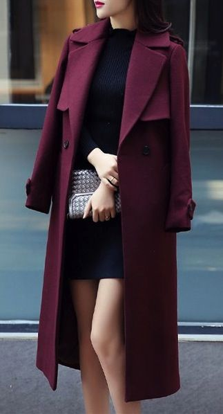 wool coat in wine