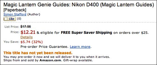 Another Nikon D400 book is available for pre-order