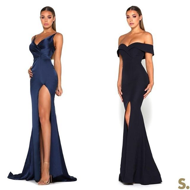 The #PortiaandScarlett Hugo silky satin thigh split evening dress &  Rebecca off the shoulder formal gown at #SHAIDE  .  .  .  .  .  .  #formal #prom #gowns #dresses #dressboutique #evening #longdress #blacktie #redcarpet #boutique #london #israel #dubai #toronto #eveninggown #engagementparty #wedding #bridesmaids #debs #homecoming