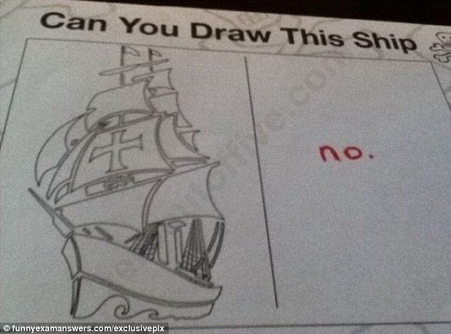 Succinct: The child taking the test's answer to this question was short and to the point