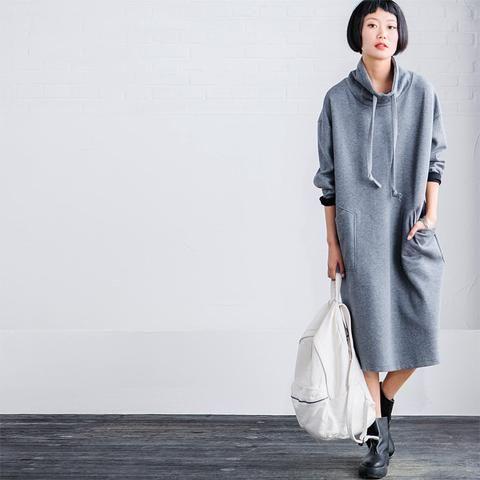 Gray Big Pocket High Neck Dress Blouse Soft Fleece Women Clothes Q2577A
