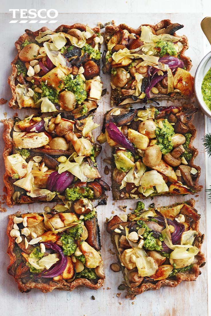 Mushroom Nut Roast Tart With Pesto Recipe Vegetarian Roast