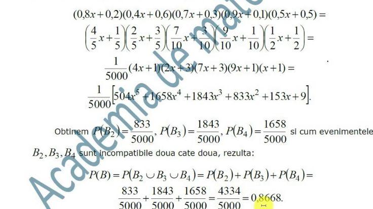 X-Statistica si probabilitati-Scheme clasice de probabilitate-Aprofundare