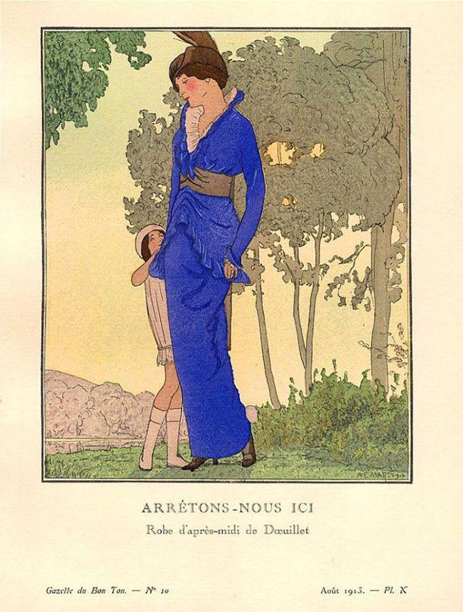 1913 Gazette du Bon Ton. Robe d'apres-midi, de Doeuillet.