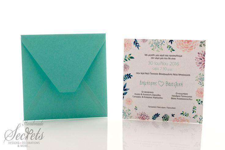 Picture of Προσκλητήριο γάμου λουλούδι νερομπογιά
