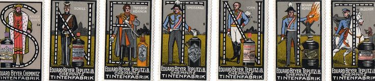 Stamps spelling Tintens. Let that be a lesson to me when putting things in the scanner put them in backwards. N=Schill,E=Theodore Korner,T=Gneisenau,N=York,I=Scharn Horst,T=Blucher,& S=Kaiser Karly. All  German famous people and spelling Tintens in Dutch means tint, colors, or hues.- Judith Walker's Collection