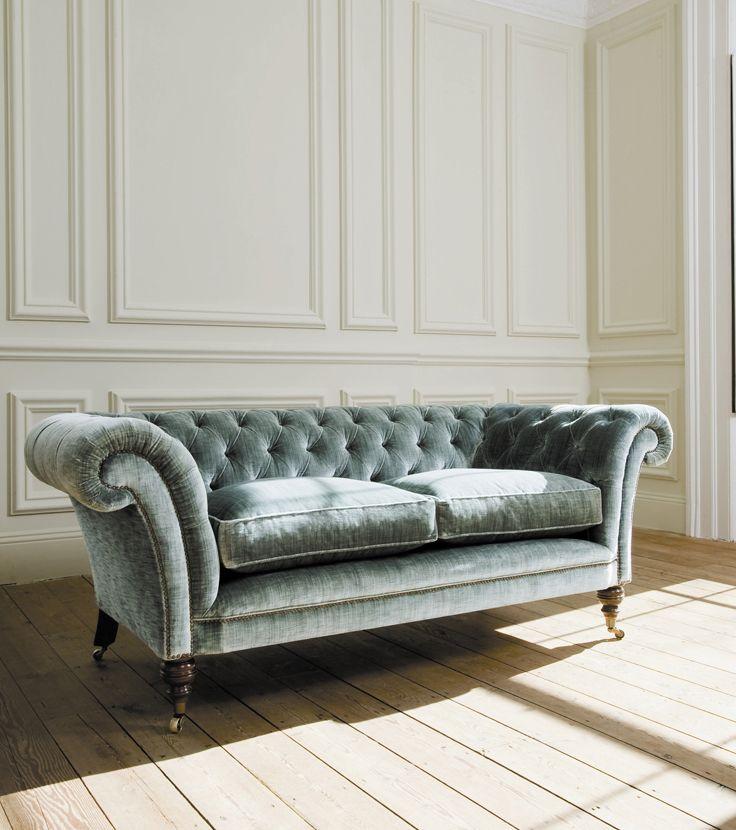 Grenville sofa covered in Como silk velvet - teal.