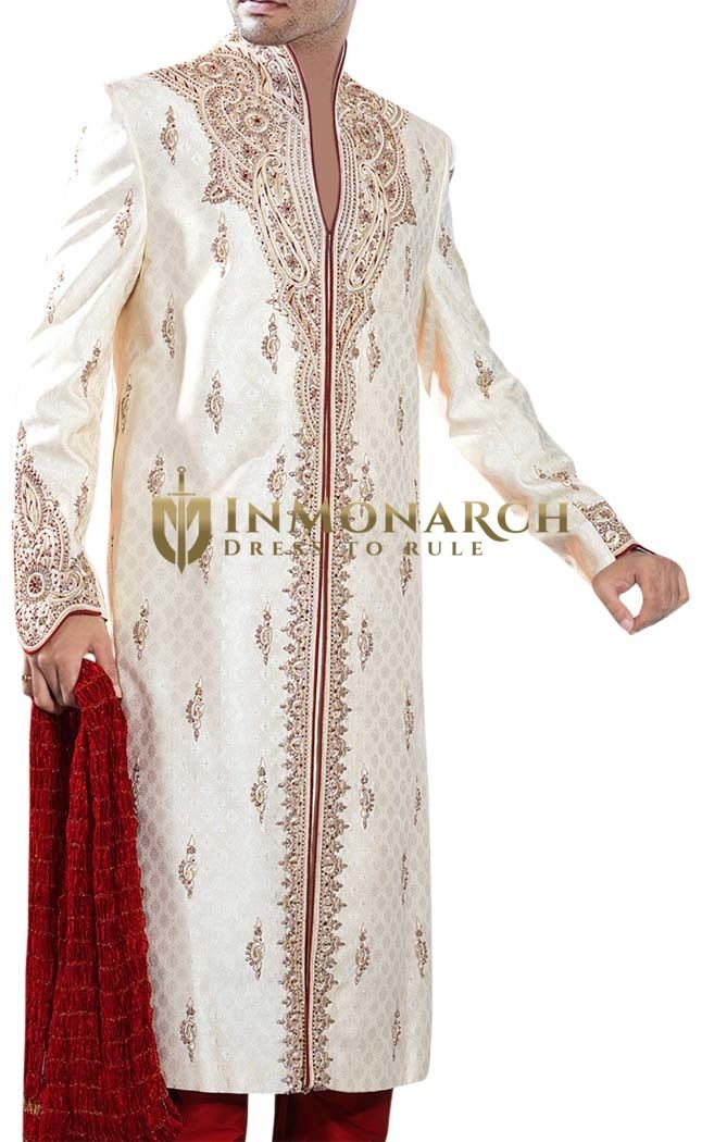 Kingly Cream Designer Sherwani We roll out a record number of Sherwanis every year. Each one is checked at every stage for stellar quality. #CelebrationWear