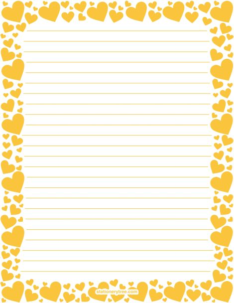 Printable yellow heart stationery and writing paper. Multiple versions available with or without lines. Free PDF downloads at http://stationerytree.com/download/yellow-heart-stationery/