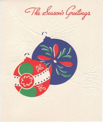 Vintage Christmas Card Mid-Century Ornaments Red and Blue: Branches Gibson,  Plectron, Vintage Christmas Cards, Midcentury Ornaments,  Plectrum, Blue Trees, Mid Century, Cards Midcentury, Ornaments Red