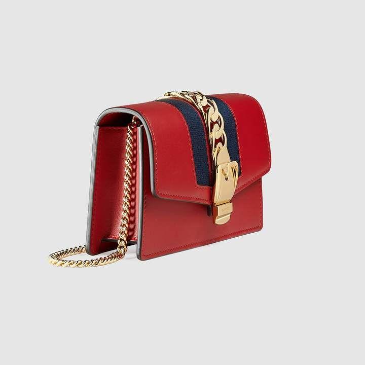 41159f70 Sylvie leather mini chain bag - hibiscus red leather GUCCI Handbag ...