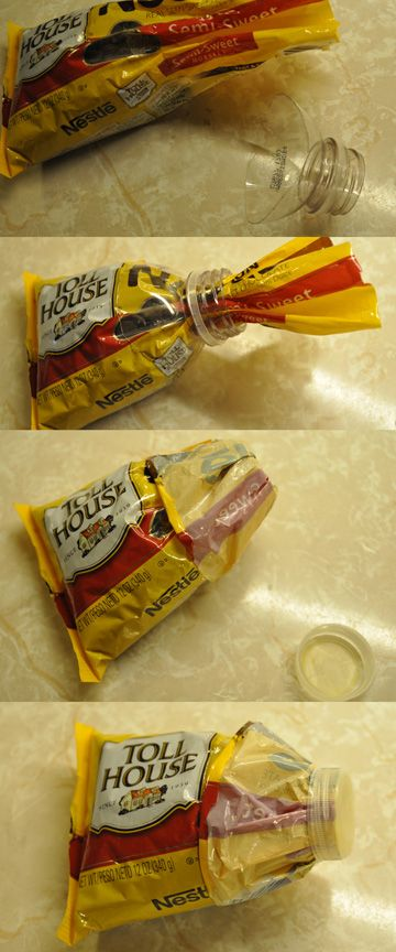 Reusing water bottle tops to seal open bag of chocolate chips. Great