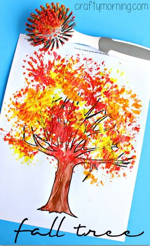 fall tree craft using dish brush (tree printable link on this page too)