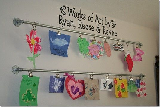 Great way to store art your children make at home or in school.  Just use industrial galvanized piping.