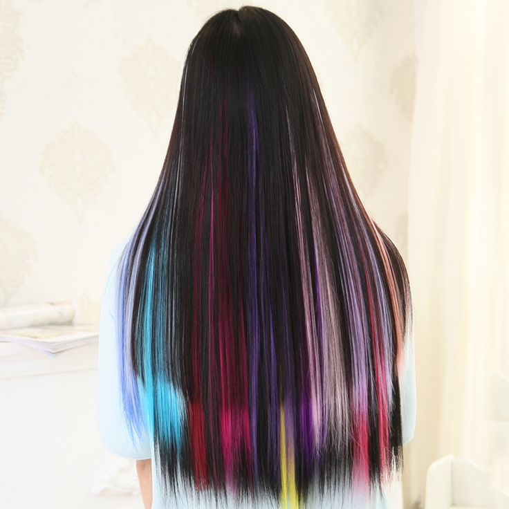 Colorful Hair Extension For Women Long Synthetic Clip In Extension Straight Hairpiece Party Highlights Punk Hair Piece Free Ship