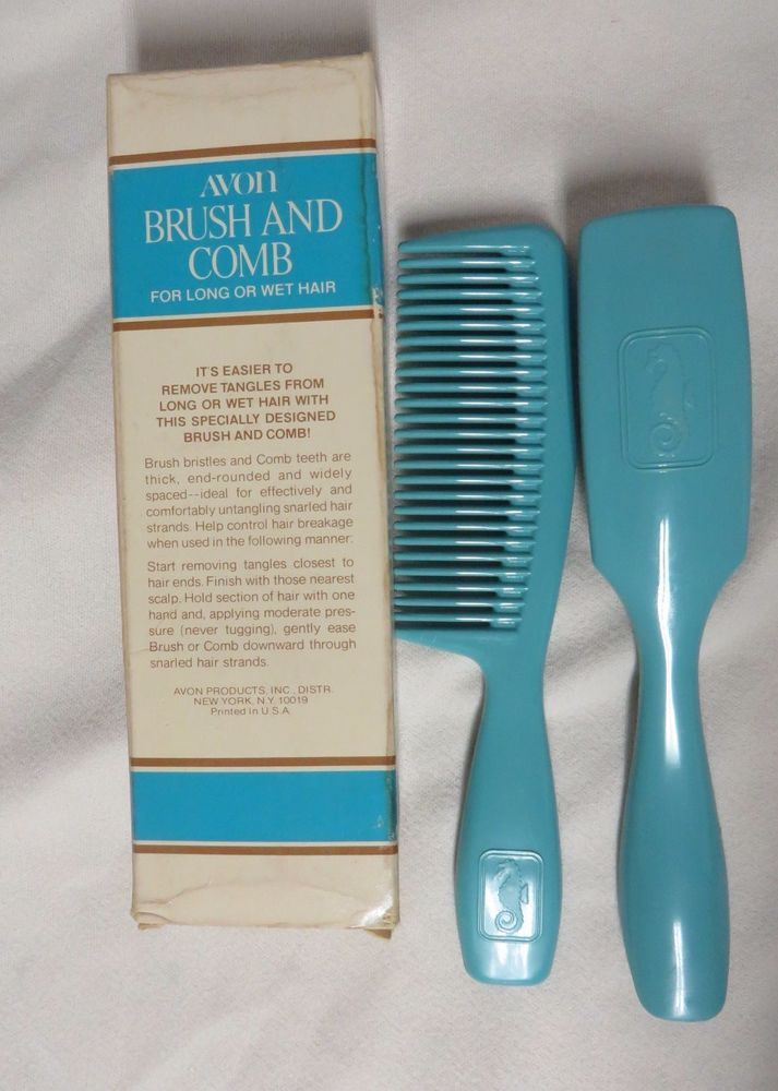 Vintage Avon Brush And Comb For Long Wet Hair Removes Tangles Seahorse Nib 70s