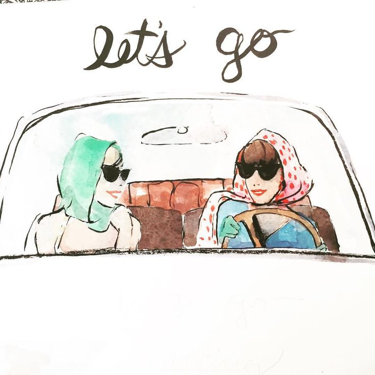 Darling let's go for a drive! Illustration by A Thing Created illustration