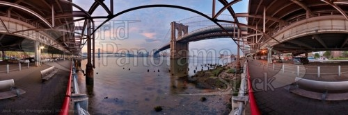 Brooklyn bridge east river dawn. This image is cropped. A 360x180 degree spherical panorama is also available for interactive 360VR Flash, Java, OpenGL or Quicktime VR media viewers - spherical panoramic image for iPhone iTunes and iPad eBook application on World Panorama Stock