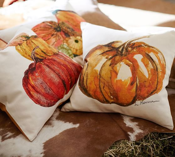 Painted Pumpkin Patch Pillow Cover, 20"