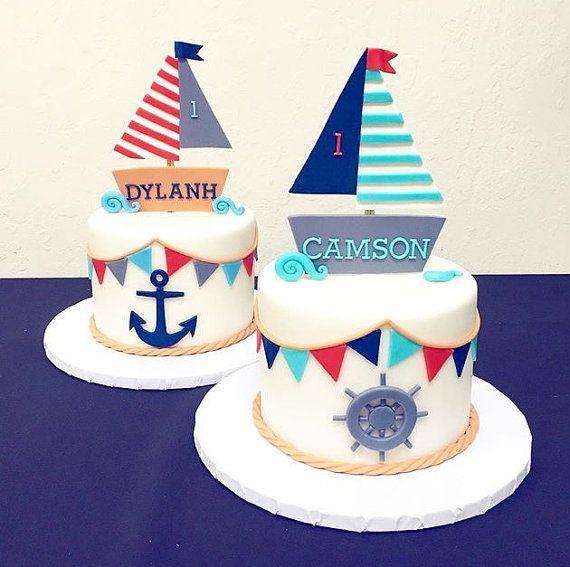 Fondant twin sailor cake toppers! Fondant boats.