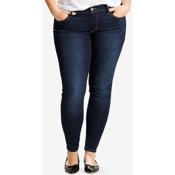 Levi's Plus Size 310 Shaping Super Skinny Jeans ($50) ❤ liked on Polyvore featuring plus size women's fashion, plus size clothing, plus size jeans, dark blue, levi skinny jeans, skinny leg jeans, slim fit skinny jeans, skinny jeans and blue jeans
