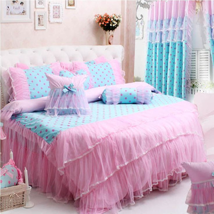 Find More Information About Round Bed Lace Pink Polka Dots Duvet Cover Set  Lace Bow Round Bed Bedding Part 77