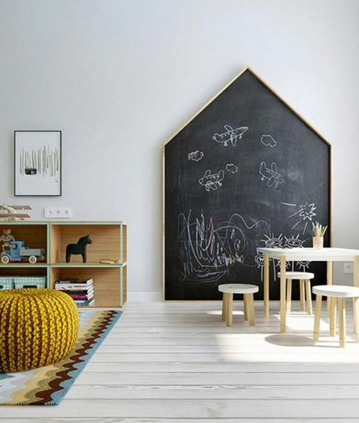 if you don't feel like painting a wall, make or buy a large chalkboard in a fun shape. There are loads of interesting shapes out there but we especially like the simplicity of an over-sized house. http://petitandsmall.com/fun-ways-create-chalkboard-wall/