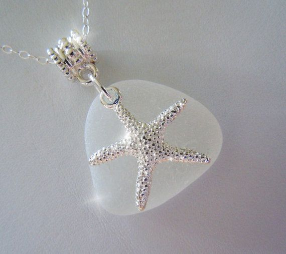 White Sea Glass with Starfish Necklace - Beach Glass - Seaglass